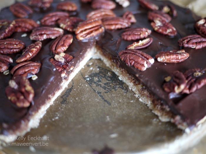 taart chocolade pecannoten plantaardig
