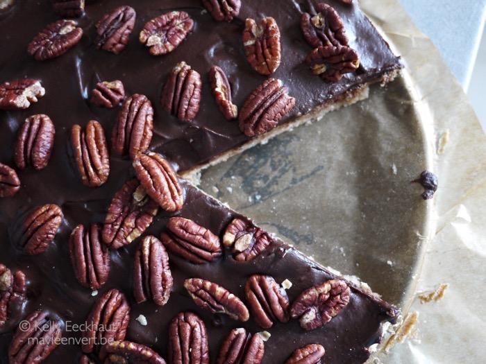 taart chocolade pecannoten vegan